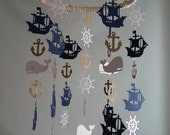 Navy Gold Glitter White Nautical Pirate Ship Whale Helm Anchor Adorable Nautical Sailboat Pirate Sea Ocean Baby Mobile