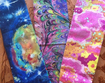 Choose one :) Cotton Reversible Headband . Feathers || Galaxies || Pink Lichen