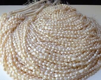 SALE  -  8 Strands White Crinkly Bumpy Freshwater Pearls - Organic Vintage Appeal - (splotwh2)