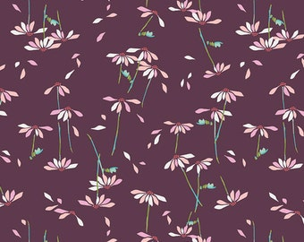 Maroon Pink and Green Daisy Floral Voile, Playground by Amy Sinibaldi For Art Gallery Fabrics, He Loves Me in Plum, 1 Yard