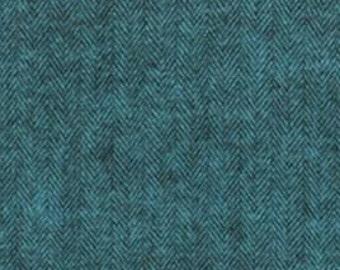 Ocean Turquoise and Black Herringbone Robert Kaufman Shetland Flannel, 1 Yard