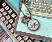 share your story -- all for His glory -- typewriter necklace