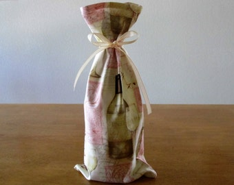 Wine Gift Bag - A sweet cloth wine gift bag covered with wine bottles and glasses, a lovely way to gift a bottle of wine-two gifts in one