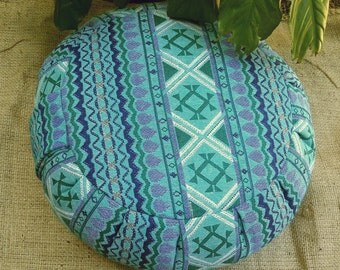 Exotic Cayma Hasina Cotton Woven Round Buckwheat Hull Meditation Cushion
