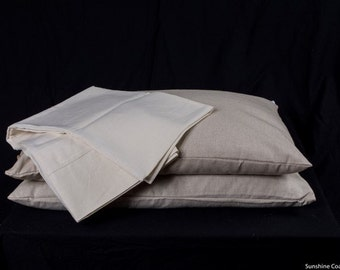 "STANDARD Buckwheat Hull Pillow With Organic Hemp Insert & Slip Set  Size 71cm x 46cm or 27"" X 18"""