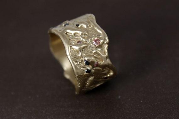 Unique diamond like cz set in 14k gold wedding band, modern wedding ring, alternative engagement ring