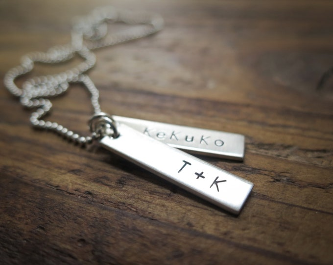Hand Stamped Jewelry - Rectangle Tags - Necklace Sterling Silver - by Betsy Farmer Designs