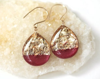 cranberry and gold leaf and glitter tear drop earrings on 14 karat gold fill ear wires - large size