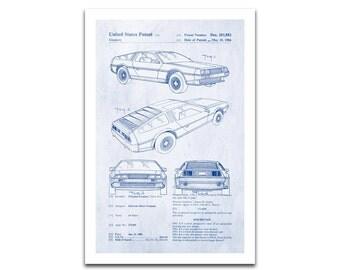 DeLorean DMC-12 Patent Art Giclee on archival matte paper
