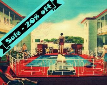 Retro Home Decor, Vintage Style art, Mad Men Art, Swimming Pool Print, Retro Motel, Red Aqua Decor, Vintage Vacation, Beach Art Print
