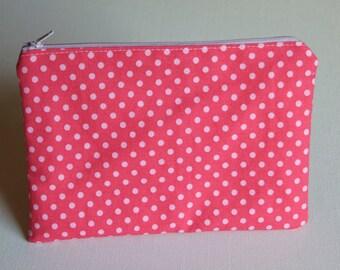 Zipper Pouch, Pink Polka Dots, Organizer, Kids, Travel, Spring Gift, Pencil Case, Gift for Friend, Teacher Appreciation Gift
