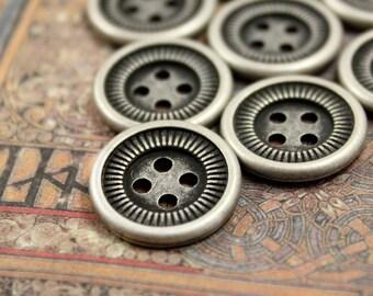 Metal Buttons - Antique Silver Side Gear Design Hole Buttons , 4 Holes , 0.71 inch , 10 pcs