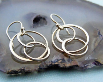 Sterling Silver Hoop Earrings, Dangle Earrings, Hoop Drop Earrings, Silver Eternal Movement Earrings