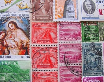 Darwin's Playground 50 Vintage Ecuadorian Postage Stamps Republic of Ecuador Latin Love South America Galapagos Worldwide Postage Stamps