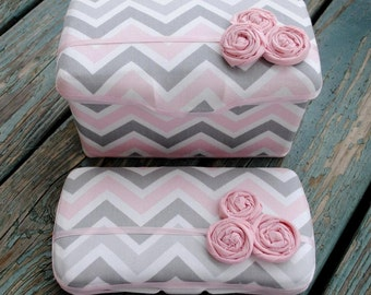 Set of 2, Large Nursery Wipe Case and Travel Baby Wipe Case, Pink and Gray Chevron, Baby Shower Gift Set, Wipe Holder, Wipecase Gift Set