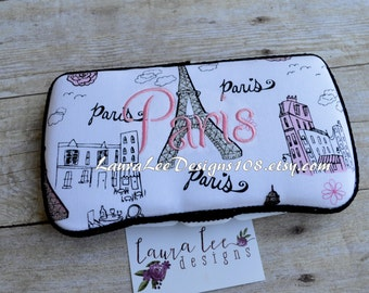 READY TO SHIP Glittery Paris Eiffel Tower Boutique Style Travel Baby Wipe Case Nappy Wipe Case Wet Wipe Case Pink Black
