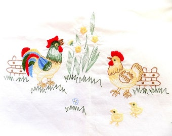 Vintage Rooster Hen & Chicks Hand Embroidered Tablecloth or Table Topper