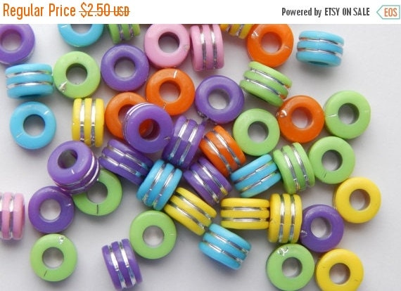 CLEARANCE Acrylic Jewelry Beads - Rondelle Shape, Mixed Bright Colors with Silver Stripes, 9mm, 50 Pieces