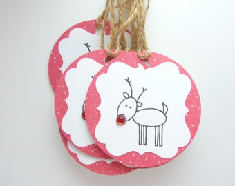 Reindeer Christmas Gift Tags Set of 10, Holiday Reindeer Tags, Christmas Rudolph Tag, Handmade Christmas Tags, Red Christmas Gift Tags