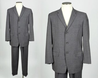 late 1950s suit SIZE 42 • textured grey wool with subtle stripe