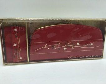 Vintage Red Leather Wallet and Key Case Set NOS