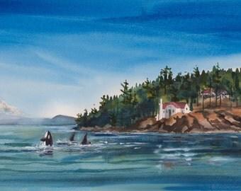 Turn Point, Watercolor Print, Seascape, San Juan Islands, Stuart Island, Whales, Orca, Lighthouse, Mt Baker