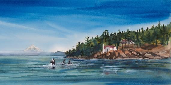 Turn Point Watercolor Print Seascape San Juan Islands