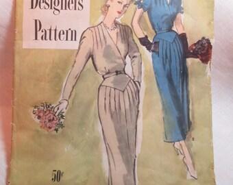 "Antique 1949 Simplicity Designer's Pattern #8031 - size 40"" Bust"