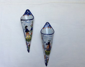 Pair French Country Quimper Faience Wall Pockets