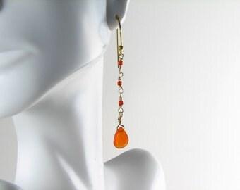 Carnelian drop dangle earrings gold filled orange drops