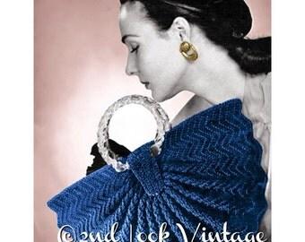 Vintage Crochet Pattern 1940s Half Moon Fan Purse Handbag Digital Download PDF