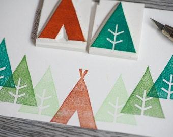 camping stamp set, tree stamp, vacation stamp, backpacker rubber stamp, forrest stamp, camping tent stamp, handcarved stamp, summer camp