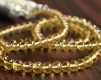 AAA Honey Quartz Rondelles, Microfaceted Roundels, Gemstone Beads, Caramel, 3mm - 5mm - 7 inch strand