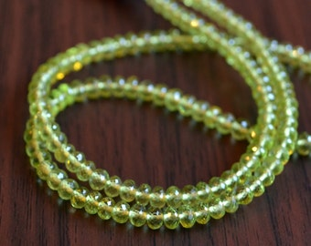 Peridot Rondelles, Faceted, AAA Genuine Gemstone Beads, Microfaceted Roundels, Bright Lime Green, 3.5mm 4mm, 7 inch strand