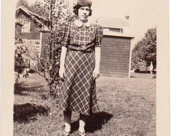 The Lady Wears Plaid - Vintage Photograph, Vernacular Photo, Ephemera (A)