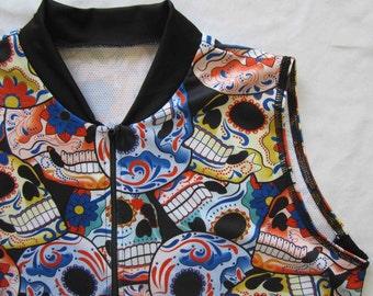 Women's Bike jersey in Day Of Dead Skull print - XS