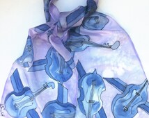 Double Bass hand painted silk scarf.  Silk scarves.  Musical Scarf