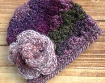 Crochet Baby Hat, Newborn Girl Hat, Purple Hat, Baby Girl Hat, Violet, Infant Girl Hat, Baby Girl Beanie, Photo Prop, **Ready to Ship