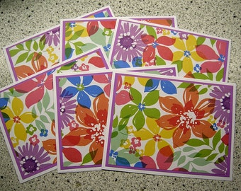 Tropical Summer Flower Blank Notecards - Set of 6 - Thank You, Invitations