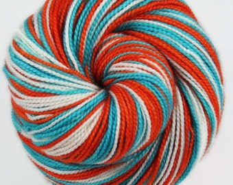 DOLPHINS: Superwash Merino-Nylon - Self-striping Sock Yarn - Hand dyed sock yarn - NFL inspired yarn - Football team yarn - Team colors yarn