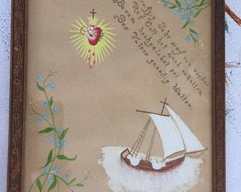 Original Drawing// Anniversary Remembrance/ German//Original Art/God/Antique Frame/  By Gatormom13 JUST REDUCED