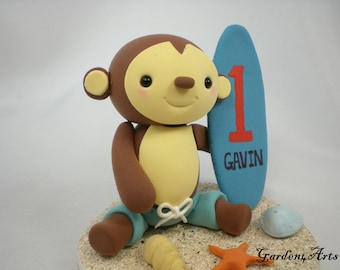 Customise Lovely  Baby Monkey CakeTopper with Clay Sand Base for Kids Birthday or Baby Shower