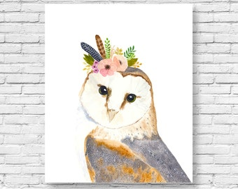 watercolor owl owl painting woodland nursery animal paintings owl fox