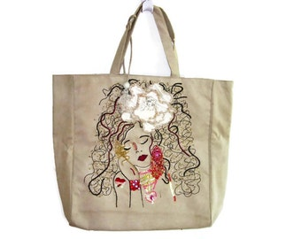 Beige Ultrasuede Purse/ Huge Unusual Handbag Overnight Bag Embroidered and Beaded with a Lady's Face