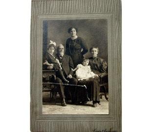 Professional Portrait of Three Generations in Antique Portrait Cabinet Card, Cabinet Photo, Circa 1890s, Montreal Canada