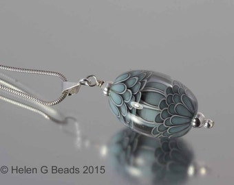 Sterling silver and lampwork bead pendant in turquoise, duck egg by Helen Gorick