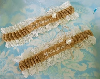 Burlap and lace wedding garter set,  You're Next Wedding Garter Embroidered with ivory font and pearl throw garter toss garter, just married