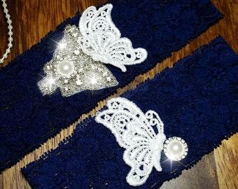 Navy blue Wedding Garter set  , stretch lace garter, crystal, rhinestone, pearl garter, rhinestone crystal garter set, butterfly garter
