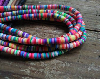 3 Str - Assorted Rainbow Vinyl Heishi Beads 3mm 4mm 5mm 6mm 8mm -#30