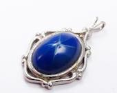 Sale 20 Vintage cobalt blue imitation star sapphire cabochon pendant. Linde?